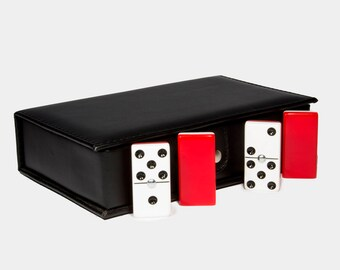 Jumbo Domino Double Six, 2 Coats: Red - White 100% Acrylic. Faux Leather Case