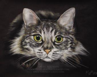 Custom Petportrait in pastels on black velours