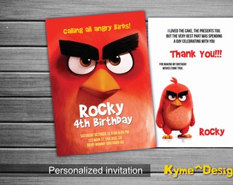 Angry-Birds-Invitation, Angry-Birds Personalized-Birthday-Invitation-Card, 5x7 Printable-Birthday Card, Angry Birds  Birthday Invitation