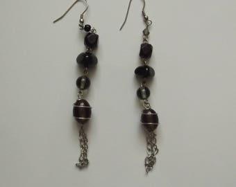 Beautiful black beads and metal earrings