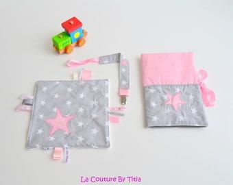 Baby box Keychain handmade @lacouturebytitia pink and gray stars