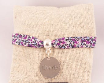 Liberty Pepper purple medal engraved bracelet - Personalized jewelry