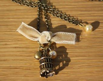 Velvet and bird cage + Bronze chain necklace