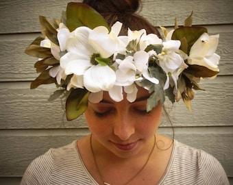 Oversized White Flower Crown