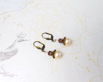 short earrings in brass, Pearl, glass stained glass & Crystal, p, retro style
