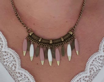 Ethnic bronze, white and purple necklace