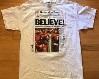 Vintage TULTEX Detroit Red Wings 1997 Stanley Cup Champions NHL T-Shirt Mens Size XL