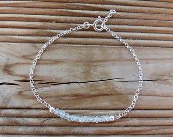 Navy silver chain 925 genuine gemstone bracelet aquamarine