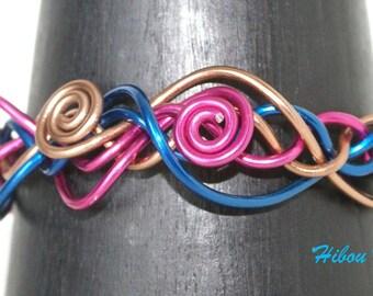 Copper, Fuchsia and blue braided aluminum wire Bangle