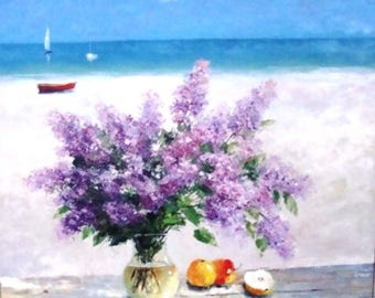 painting on canvas work of authorship lilac spring sea sun