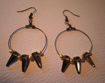 01711 - Earrings hoops, bronze and gold