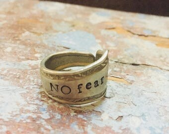 No fear -Handstamped spoon ring size 10