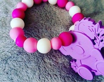 Purple koala and silicone beaded teething rings
