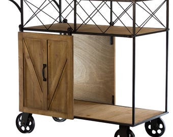American Art Decor Rustic Rolling Bar Cart with Rolling Farmhouse Barn Doors