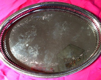 """Vintage Oval Silver Plated  Serving Platter, size 14 1/4"""" X10"""",  Made by Davco, Premium Chinese Silversmiths."""