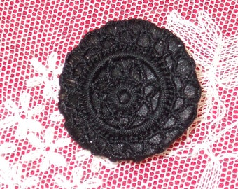 Pair of Clips black crochet lace Style Retro 26 mm in diameter