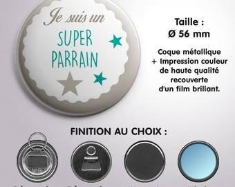 """Miroir, Décapsuleur ou Magnet """"Super Parrain"""" - Coloris Turquoise"""