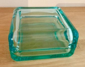 Iittala 'Vitriini' Turquoise Storage Box, Anu Penttinen - Finnish Glass Desing from Iittala, Finland