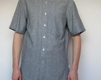 linen mix short sleeve shirt