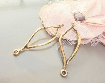 link connectors, support earring diamond antique gold look 44 x 14 mm