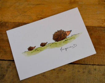 """Postcard """"Hedgehog family"""""""