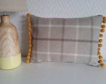 Handmade Light Brown/Beige Tartan Wool Pom Pom Cushion Cover