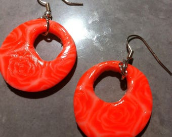Earrings cane polymer clay pink orange