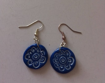 Round earrings, Blue rose, polymer clay