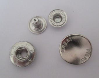 Silver rivet button