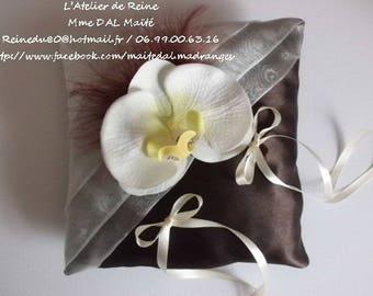 Chocolate & ivory wedding ring bearer pillow