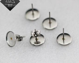 100 Stainless Steel Earring Posts W/ Jagged 10mm Round Bezel Setting Wholesale Earring Blanks Earring Base Ear Studs Ear Posts