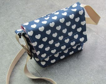 Heart Patterned Small Messenger bag, adjustable strap, Shoulder bag, Unique.