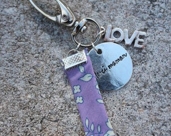 "Keychain Locket grigri ""thank you MOM"" with LOVE charm and through Liberty Mitsi purple"