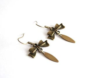 Bronze bow and drop earrings