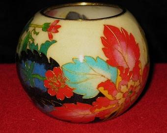 Art Nouveau cloisonne Plique-a-jour bowl with flowers and leafs design circa 1920