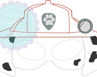 Paw Patrol Marshall  Inspired ITH mask machine embroidery applique design Instant Download