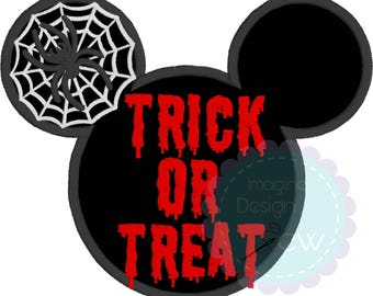 Halloween Mickey Silhouette Inspired applique machine embroidery design Instant Download 5x7 6x10