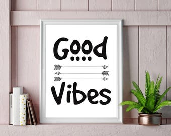 Good Vibes Art Print Poster, Wall Art, Word Art, Motivational, Inspirational, Quotes, Typography, A3 and A4.