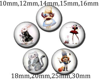 5pcs Y210 Cabochons manual diameter of 10mm 12mm 14mm 15mm 16mm 18mm 20mm 25mm 30mm Alice to the land of Wonderland, Alice in Wonderland Rovers