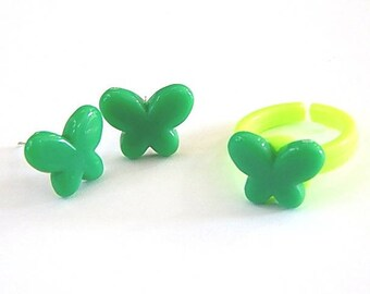 Dress children girl: stud earrings and ring ° ° Green Butterfly