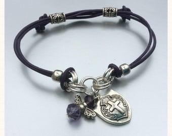 Purple Leather I AM PROTECTED Archangel Michael Charm Bracelet - Silver Shield & Angel Charm