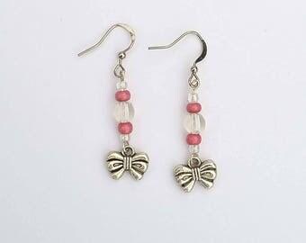 Fancy bows earrings pink