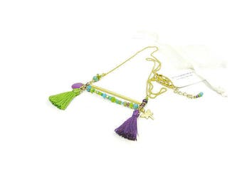 Purple turquoise green bar plate necklace matte gold Dragonfly and tassels