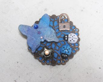 Pattern gunmetal Crystal rhinestone polymer clay and acrylic blue butterfly brooch unique hand-made