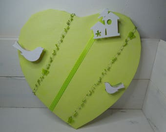 Lime green heart shaped picture frames