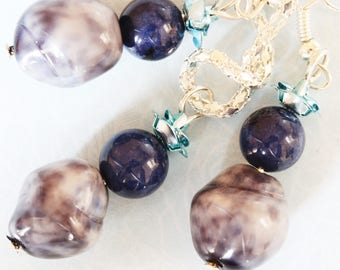 ❥ Set necklace & earrings Polly stone with flower blue