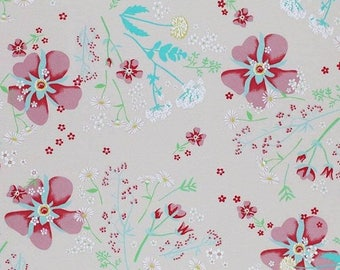 Beige Floral Jersey Knit Fabric 95/5 Cotton Elastane