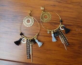 Dangle hoop earrings gold