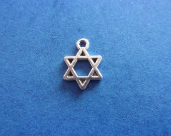 Charm/charms in the shape of the 6 pointed star, silver metal - 14mm x 10mm