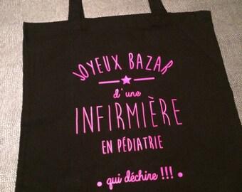 Tote bag, all personalized Tote Bag Black nurse name